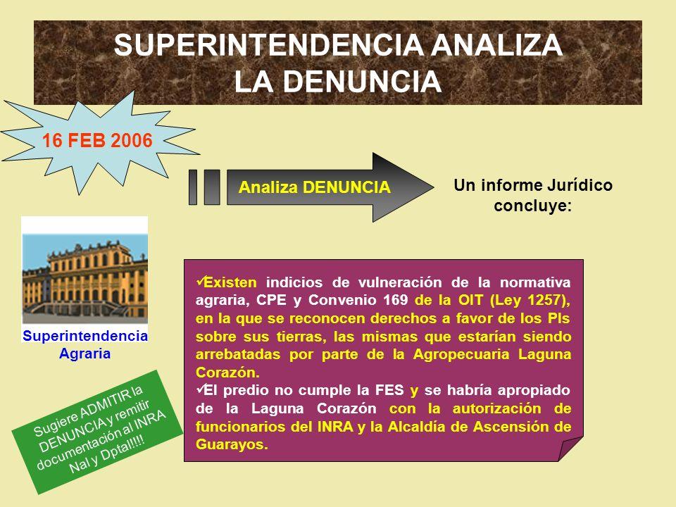 SUPERINTENDENCIA ANALIZA LA DENUNCIA 16 FEB 2006 Analiza DENUNCIA Existen indicios de vulneración de la normativa agraria, CPE y Convenio 169 de la OI