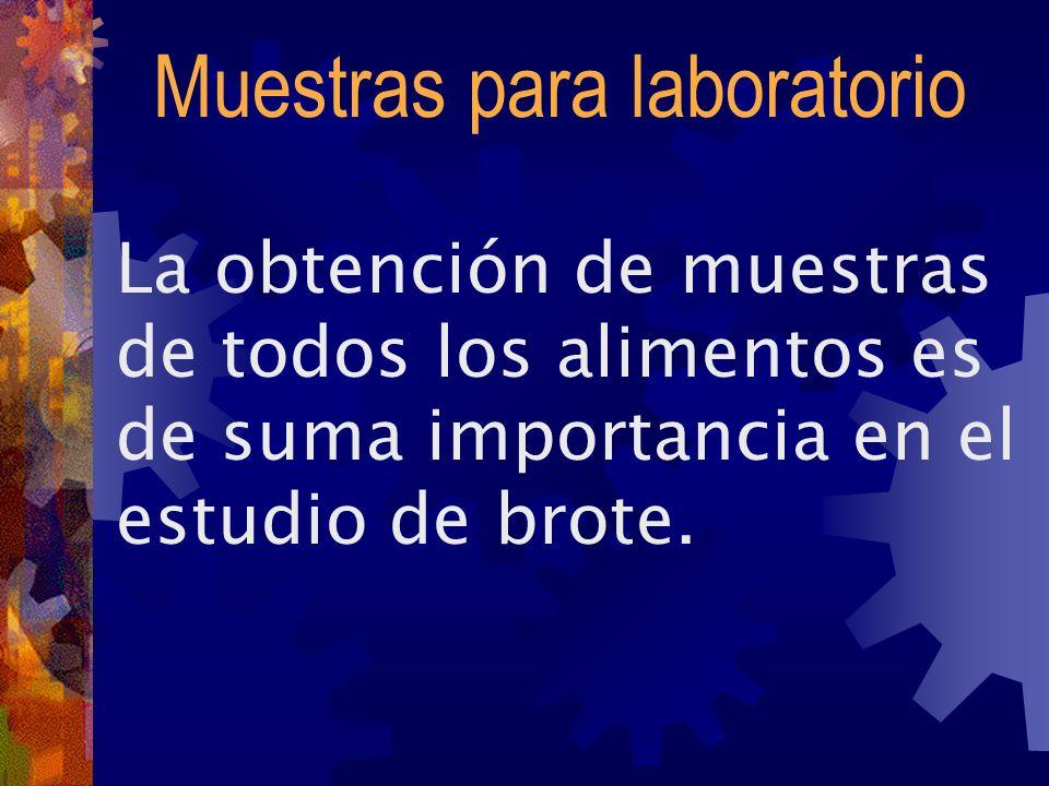 Muestras para laboratorio La obtención de muestras de todos los alimentos es de suma importancia en el estudio de brote.