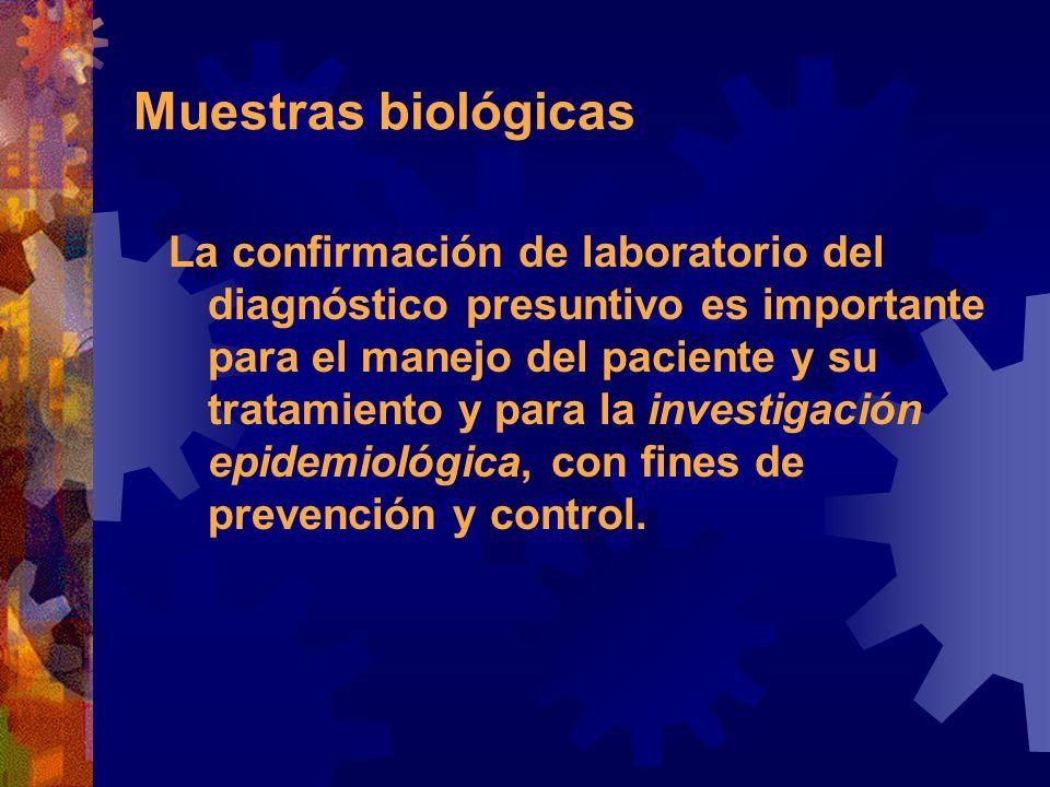 La confirmación de laboratorio del diagnóstico presuntivo es importante para el manejo del paciente y su tratamiento y para la investigación epidemiológica, con fines de prevención y control.