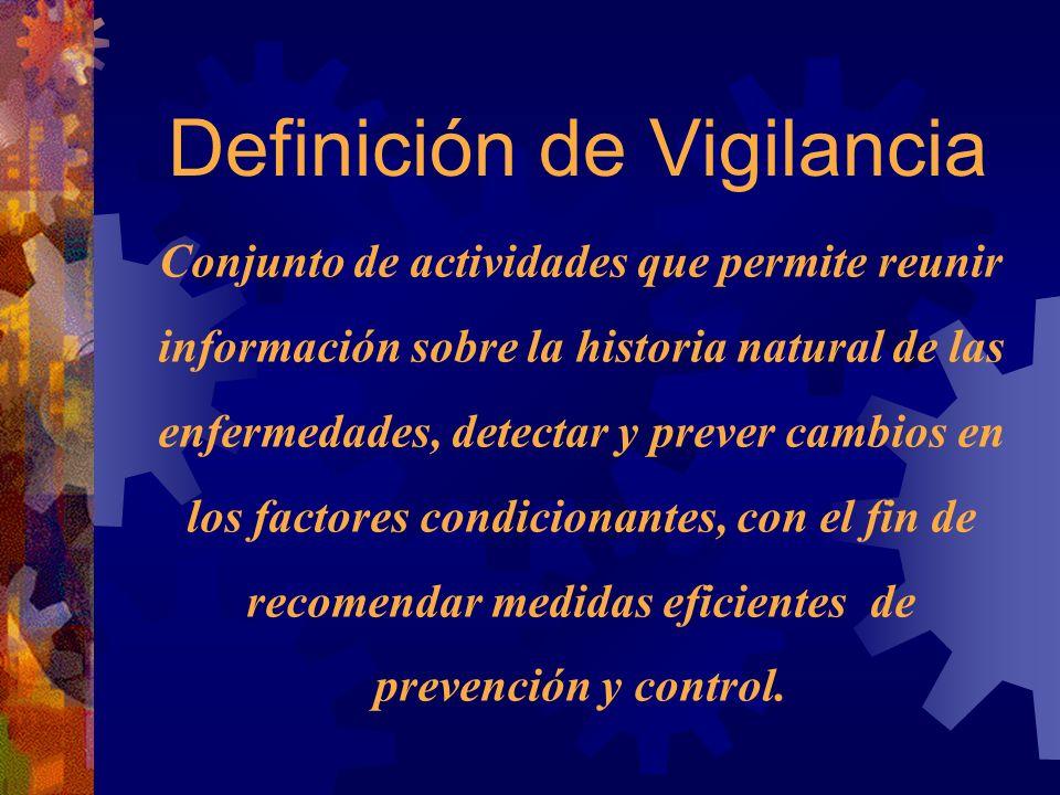 Definición de Vigilancia Conjunto de actividades que permite reunir información sobre la historia natural de las enfermedades, detectar y prever cambios en los factores condicionantes, con el fin de recomendar medidas eficientes de prevención y control.