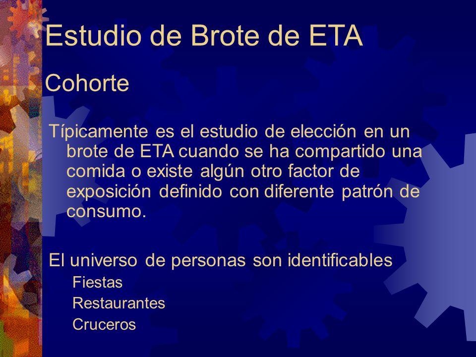 Estudio de Brote de ETA Cohorte Típicamente es el estudio de elección en un brote de ETA cuando se ha compartido una comida o existe algún otro factor de exposición definido con diferente patrón de consumo.