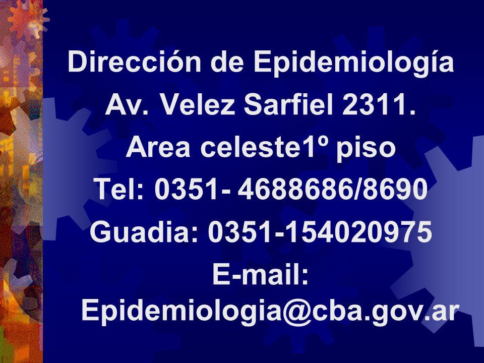 Dirección de Epidemiología Av. Velez Sarfiel 2311. Area celeste1º piso Tel: 0351- 4688686/8690 Guadia: 0351-154020975 E-mail: Epidemiologia@cba.gov.ar