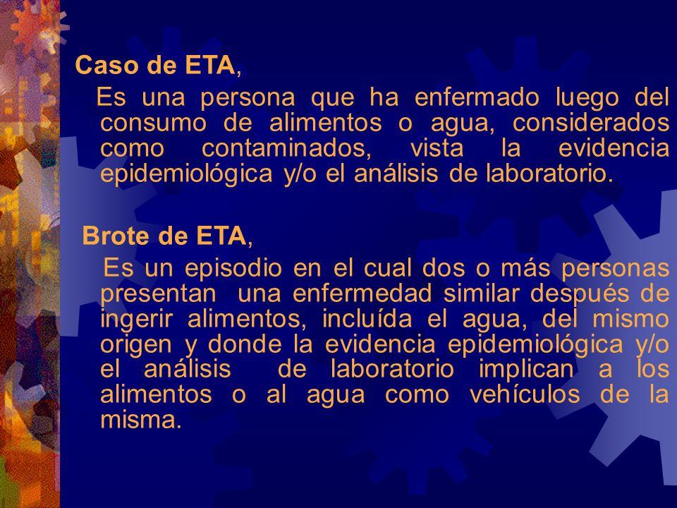 Caso de ETA, Es una persona que ha enfermado luego del consumo de alimentos o agua, considerados como contaminados, vista la evidencia epidemiológica y/o el análisis de laboratorio.