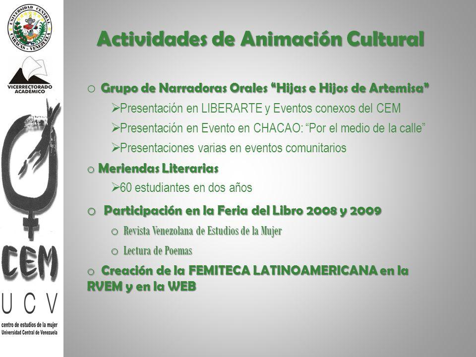 Actividades de Animación Cultural Grupo de Narradoras Orales Hijas e Hijos de Artemisa o Grupo de Narradoras Orales Hijas e Hijos de Artemisa Presenta