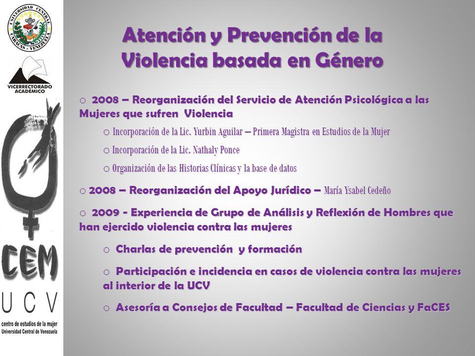 Atención y Prevención de la Violencia basada en Género o 2008 – Reorganización del Servicio de Atención Psicológica a las Mujeres que sufren Violencia