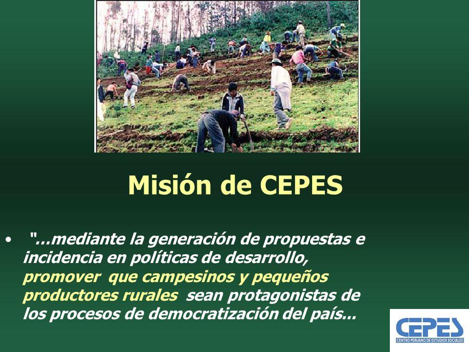 Misión de CEPES …mediante la generación de propuestas e incidencia en políticas de desarrollo, promover que campesinos y pequeños productores rurales sean protagonistas de los procesos de democratización del país...