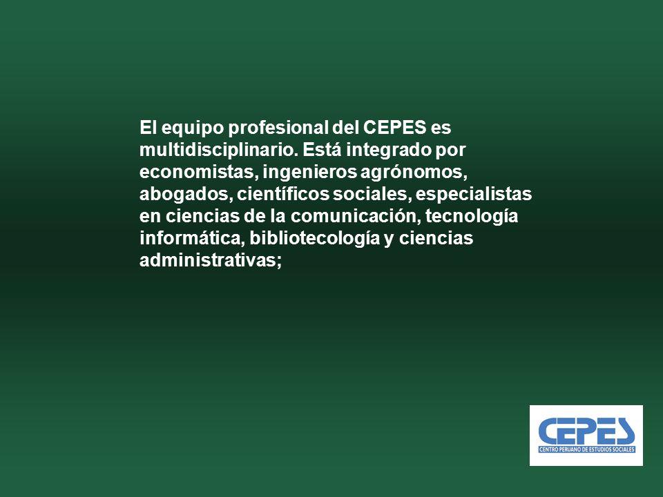 El equipo profesional del CEPES es multidisciplinario.