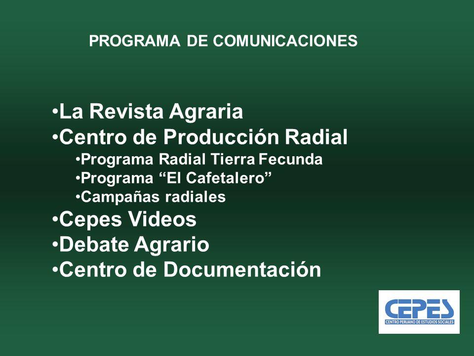 PROGRAMA DE COMUNICACIONES La Revista Agraria Centro de Producción Radial Programa Radial Tierra Fecunda Programa El Cafetalero Campañas radiales Cepes Videos Debate Agrario Centro de Documentación