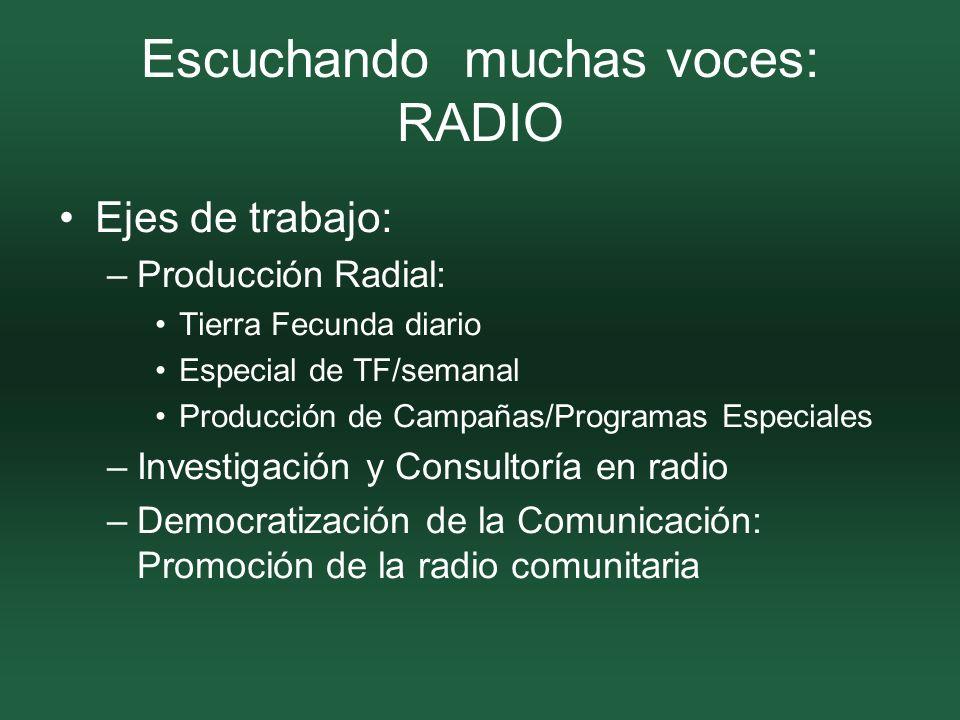 Escuchando muchas voces: RADIO Ejes de trabajo: –Producción Radial: Tierra Fecunda diario Especial de TF/semanal Producción de Campañas/Programas Especiales –Investigación y Consultoría en radio –Democratización de la Comunicación: Promoción de la radio comunitaria