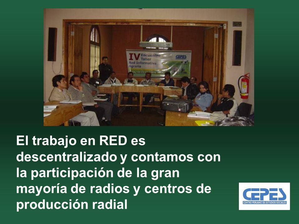 El trabajo en RED es descentralizado y contamos con la participación de la gran mayoría de radios y centros de producción radial
