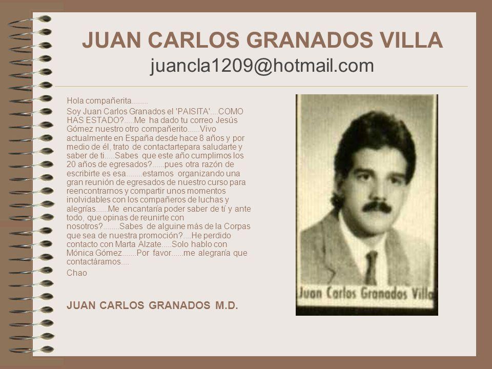 JUAN CARLOS GRANADOS VILLA juancla1209@hotmail.com Hola compañerita........ Soy Juan Carlos Granados el 'PAISITA'....COMO HAS ESTADO?.....Me ha dado t