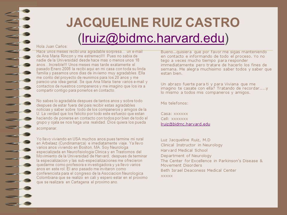 JACQUELINE RUIZ CASTRO (lruiz@bidmc.harvard.edu)lruiz@bidmc.harvard.edu Hola Juan Carlos: Hace unos meses recibi una agradable sorpresa… un e-mail de