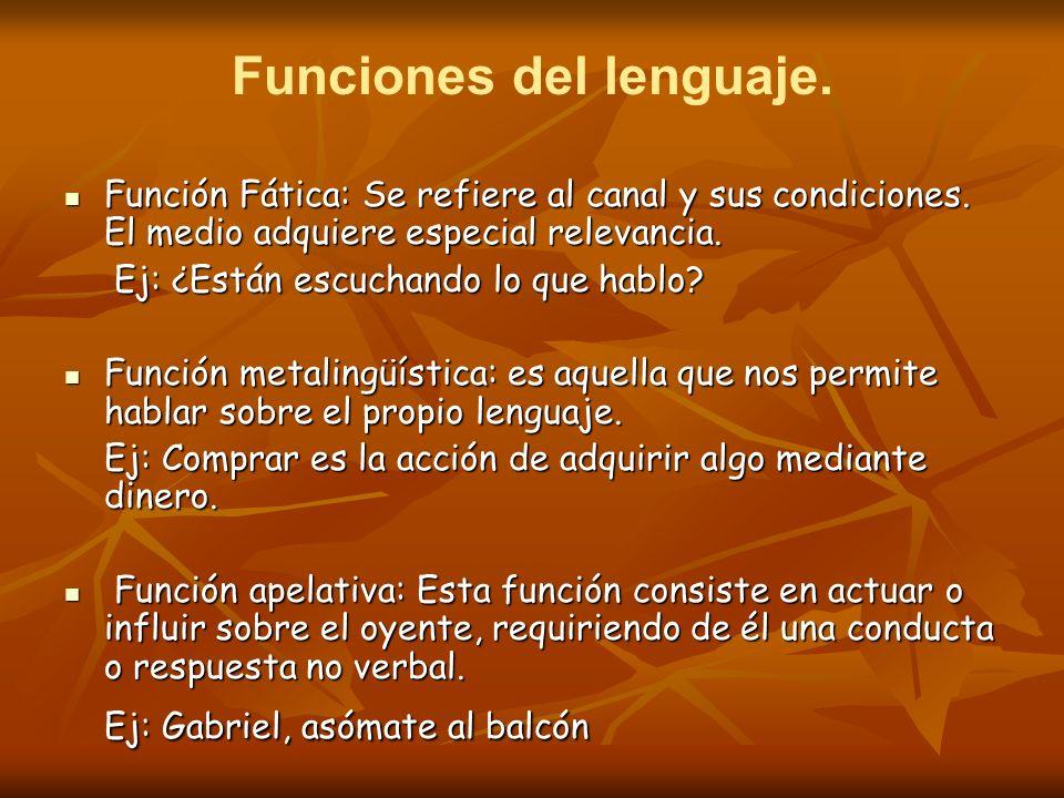 Funciones del lenguaje. Función Fática: Se refiere al canal y sus condiciones. El medio adquiere especial relevancia. Función Fática: Se refiere al ca