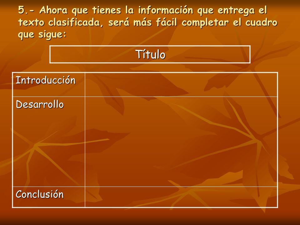 5.- Ahora que tienes la información que entrega el texto clasificada, será más fácil completar el cuadro que sigue: Introducción Desarrollo Conclusión