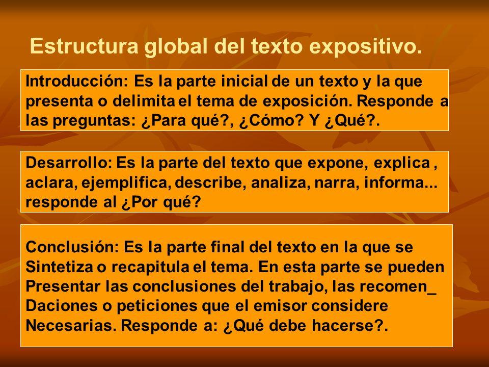 Estructura global del texto expositivo. Introducción: Es la parte inicial de un texto y la que presenta o delimita el tema de exposición. Responde a l