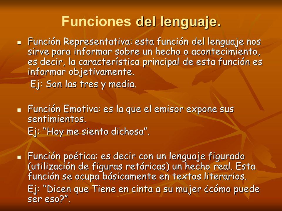del lenguaje. Funciones del lenguaje. Función Representativa: esta función del lenguaje nos sirve para informar sobre un hecho o acontecimiento, es de