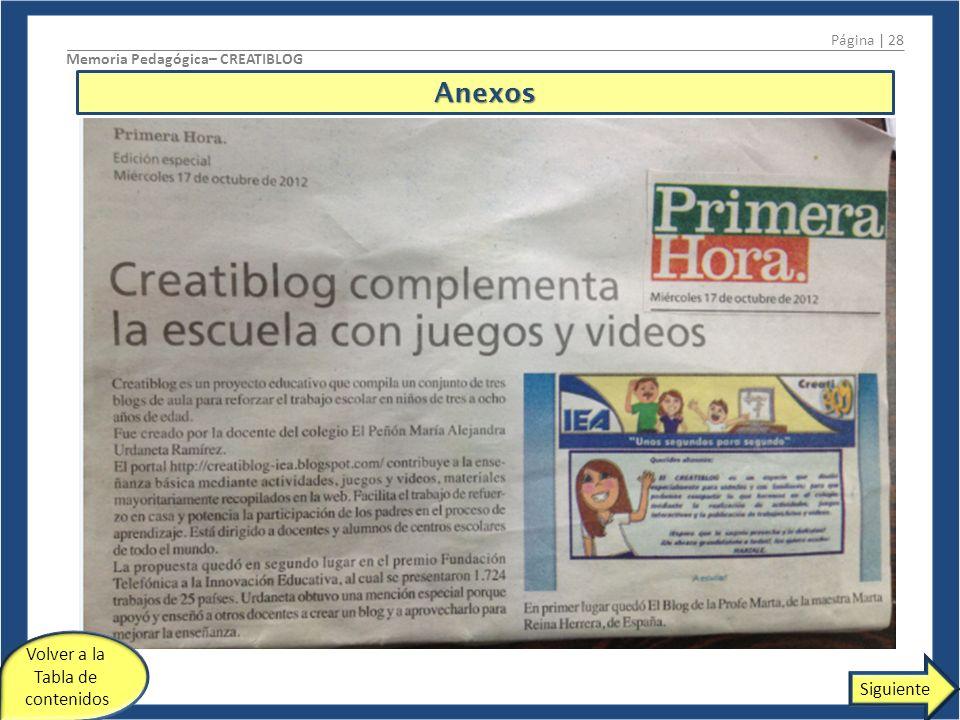 Anexos Página | 28 Memoria Pedagógica– CREATIBLOG Siguiente Volver a la Tabla de contenidos