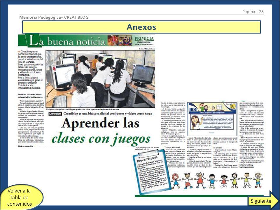Página | 28 Memoria Pedagógica– CREATIBLOG Volver a la Tabla de contenidos SiguienteAnexos