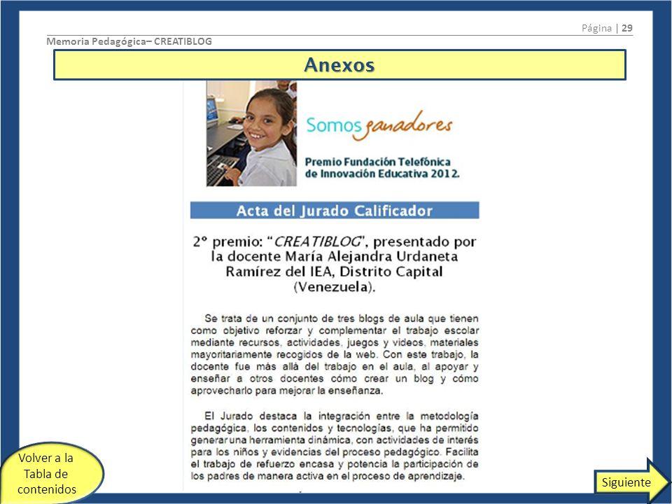 Página | 29 Memoria Pedagógica– CREATIBLOG Maria Alejandra Urdaneta Ramírez Volver a la Tabla de contenidos SiguienteAnexos