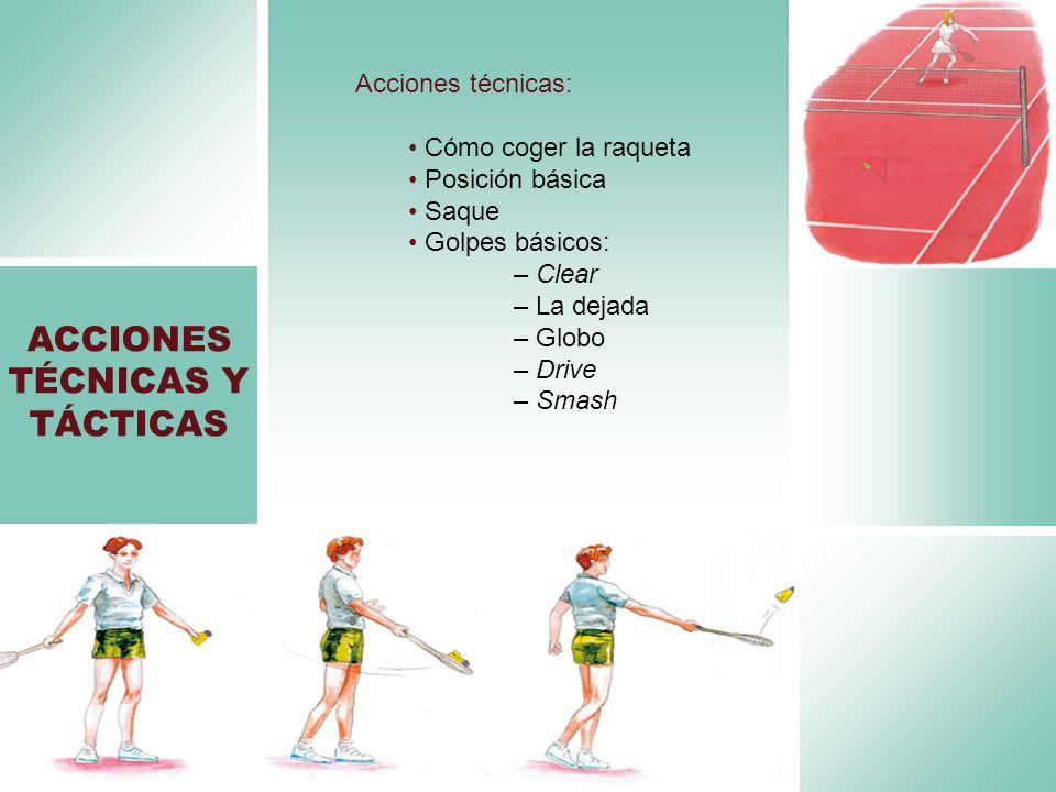 Acciones técnicas: Cómo coger la raqueta Posición básica Saque Golpes básicos: – Clear – La dejada – Globo – Drive – Smash