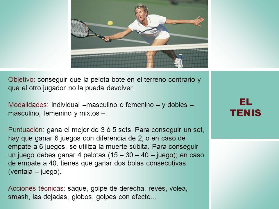 Objetivo: conseguir que la pelota bote en el terreno contrario y que el otro jugador no la pueda devolver. Modalidades: individual –masculino o femeni