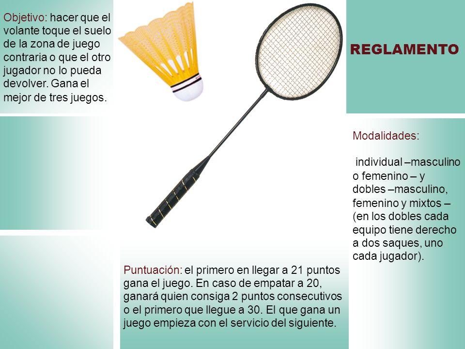 Modalidades: individual –masculino o femenino – y dobles –masculino, femenino y mixtos – (en los dobles cada equipo tiene derecho a dos saques, uno ca