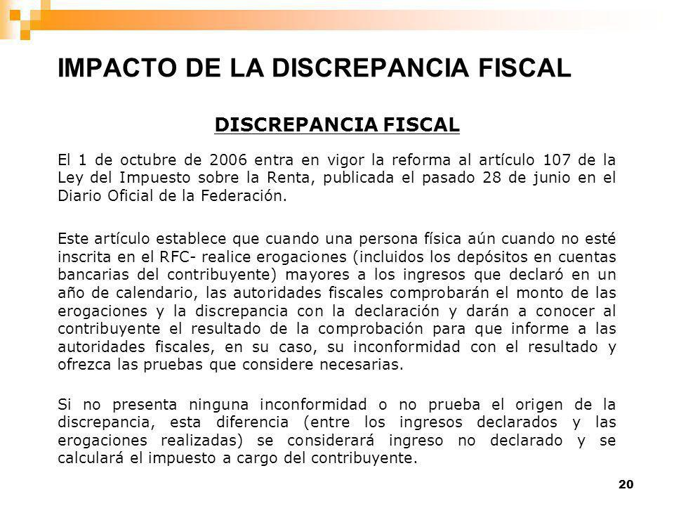 20 DISCREPANCIA FISCAL El 1 de octubre de 2006 entra en vigor la reforma al artículo 107 de la Ley del Impuesto sobre la Renta, publicada el pasado 28 de junio en el Diario Oficial de la Federación.