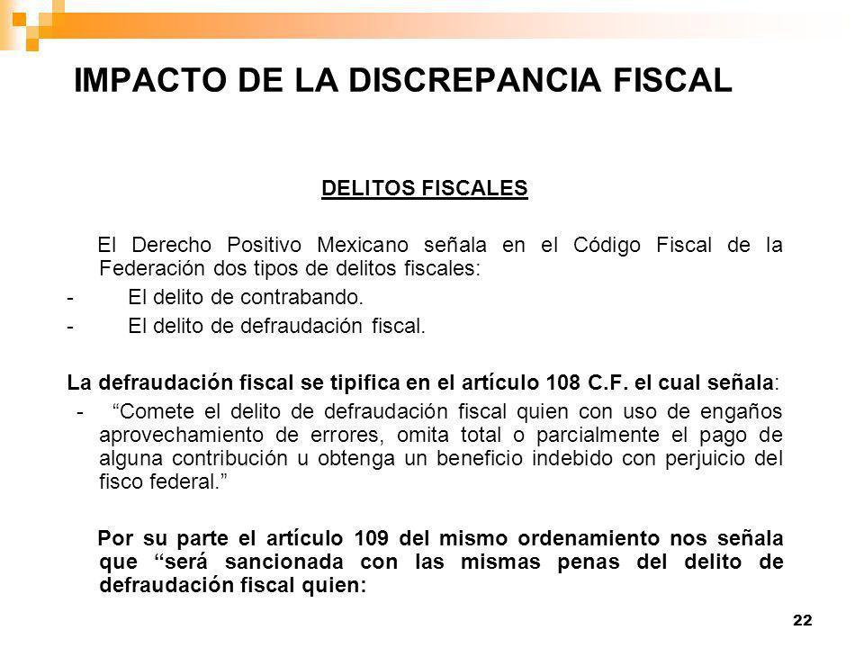 22 DELITOS FISCALES El Derecho Positivo Mexicano señala en el Código Fiscal de la Federación dos tipos de delitos fiscales: - El delito de contrabando.