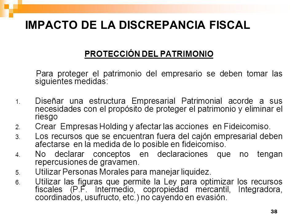 38 PROTECCIÓN DEL PATRIMONIO Para proteger el patrimonio del empresario se deben tomar las siguientes medidas: 1.