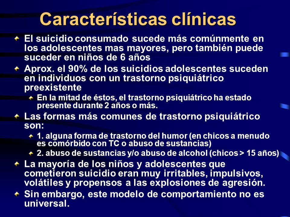 Características clínicas El suicidio consumado sucede más comúnmente en los adolescentes mas mayores, pero también puede suceder en niños de 6 años Ap