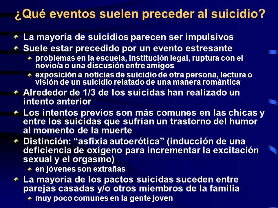¿Qué eventos suelen preceder al suicidio? La mayoría de suicidios parecen ser impulsivos Suele estar precedido por un evento estresante problemas en l