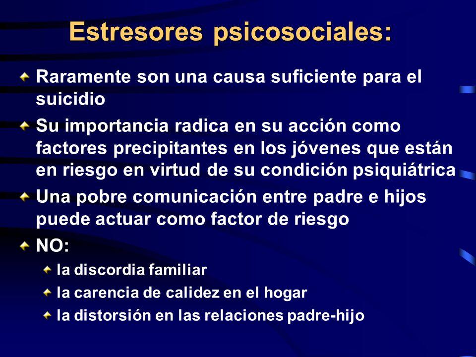 Estresores psicosociales: Raramente son una causa suficiente para el suicidio Su importancia radica en su acción como factores precipitantes en los jó