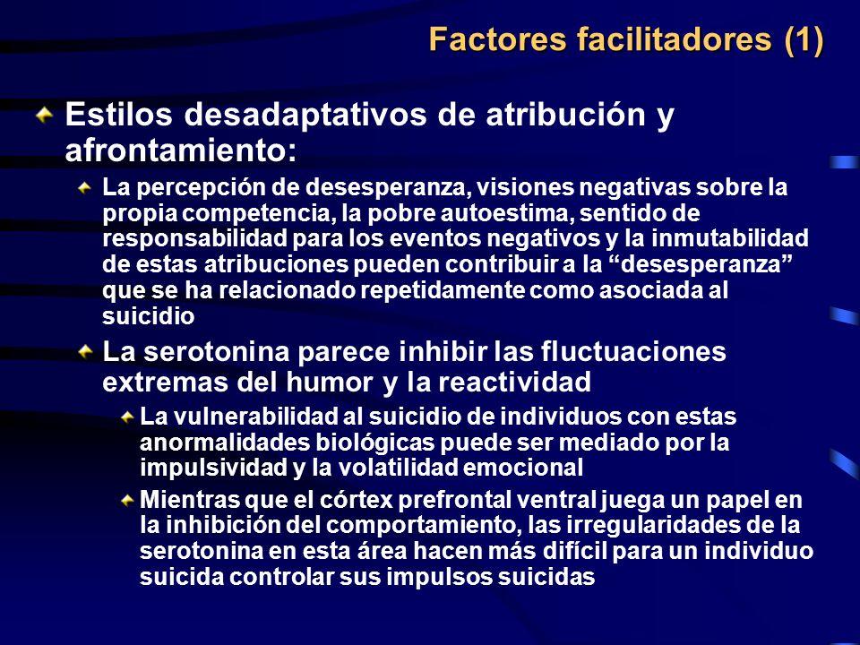 Factores facilitadores (1) Estilos desadaptativos de atribución y afrontamiento: La percepción de desesperanza, visiones negativas sobre la propia com