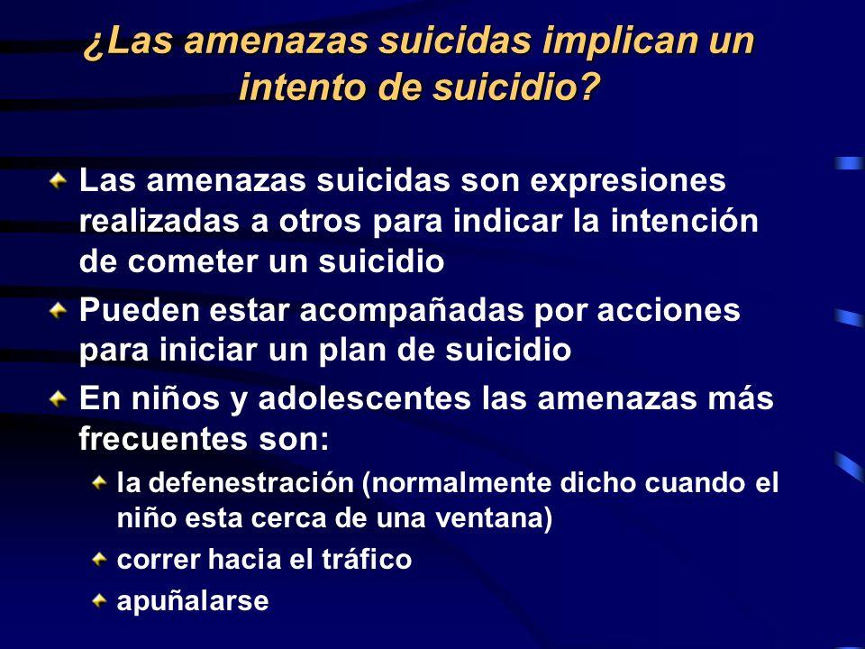 ¿Las amenazas suicidas implican un intento de suicidio? Las amenazas suicidas son expresiones realizadas a otros para indicar la intención de cometer
