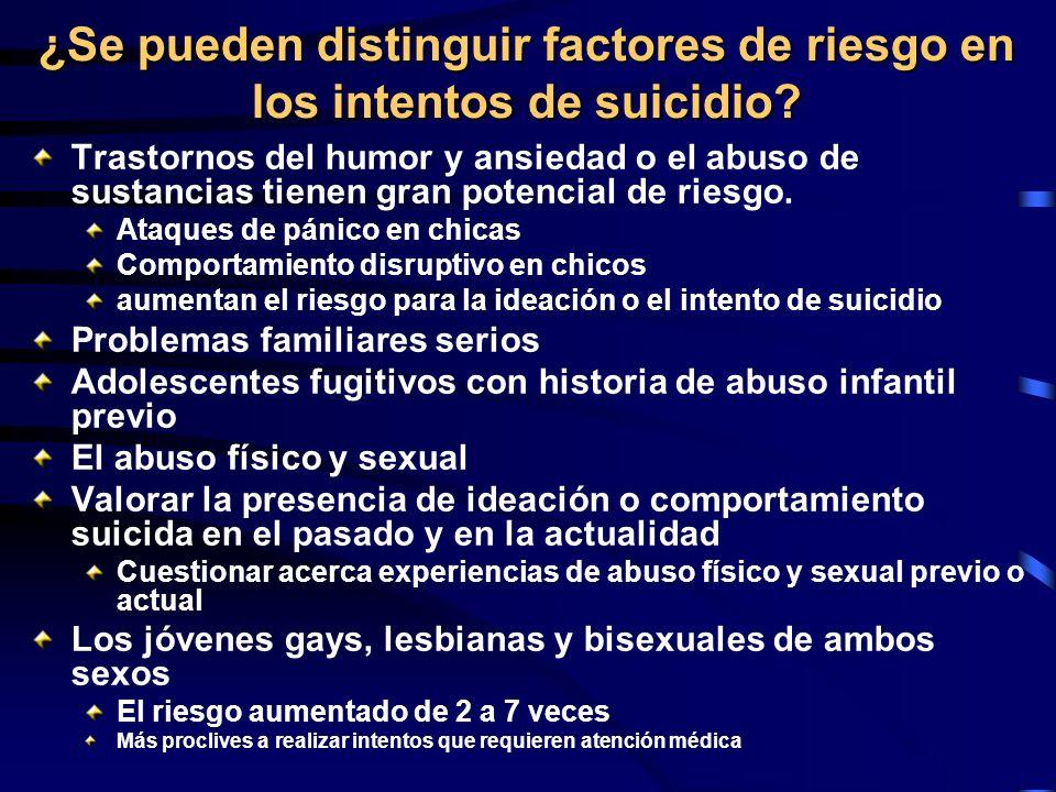 ¿Se pueden distinguir factores de riesgo en los intentos de suicidio? Trastornos del humor y ansiedad o el abuso de sustancias tienen gran potencial d