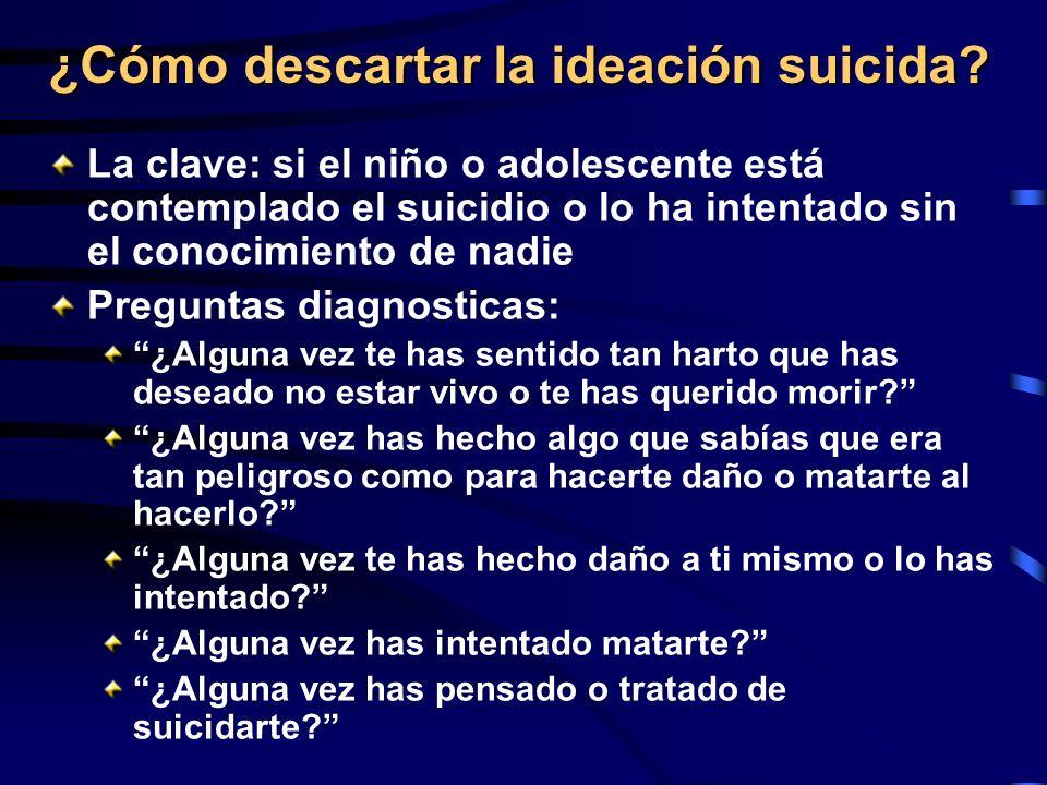 ¿Cómo descartar la ideación suicida? La clave: si el niño o adolescente está contemplado el suicidio o lo ha intentado sin el conocimiento de nadie Pr