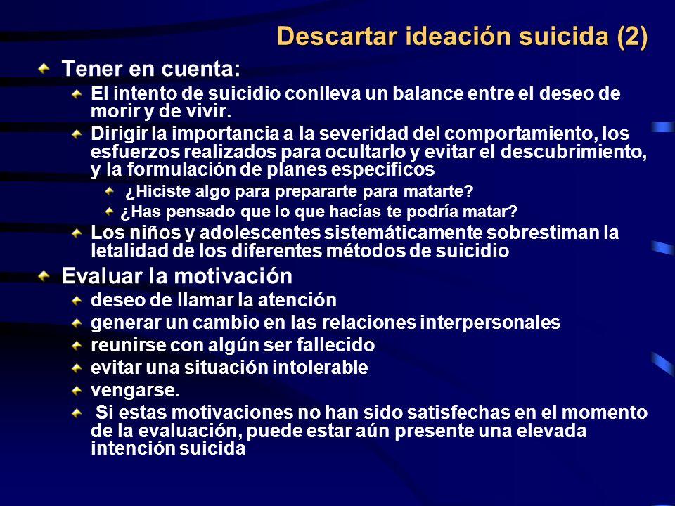 Descartar ideación suicida (2) Tener en cuenta: El intento de suicidio conlleva un balance entre el deseo de morir y de vivir. Dirigir la importancia