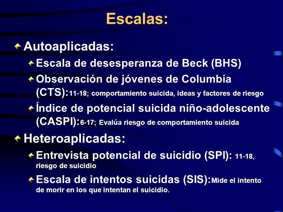 Escalas: Autoaplicadas: Escala de desesperanza de Beck (BHS) Observación de jóvenes de Columbia (CTS): 11-18; comportamiento suicida, ideas y factores