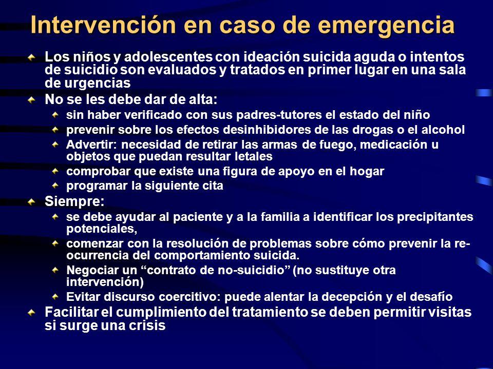 Intervención en caso de emergencia Los niños y adolescentes con ideación suicida aguda o intentos de suicidio son evaluados y tratados en primer lugar