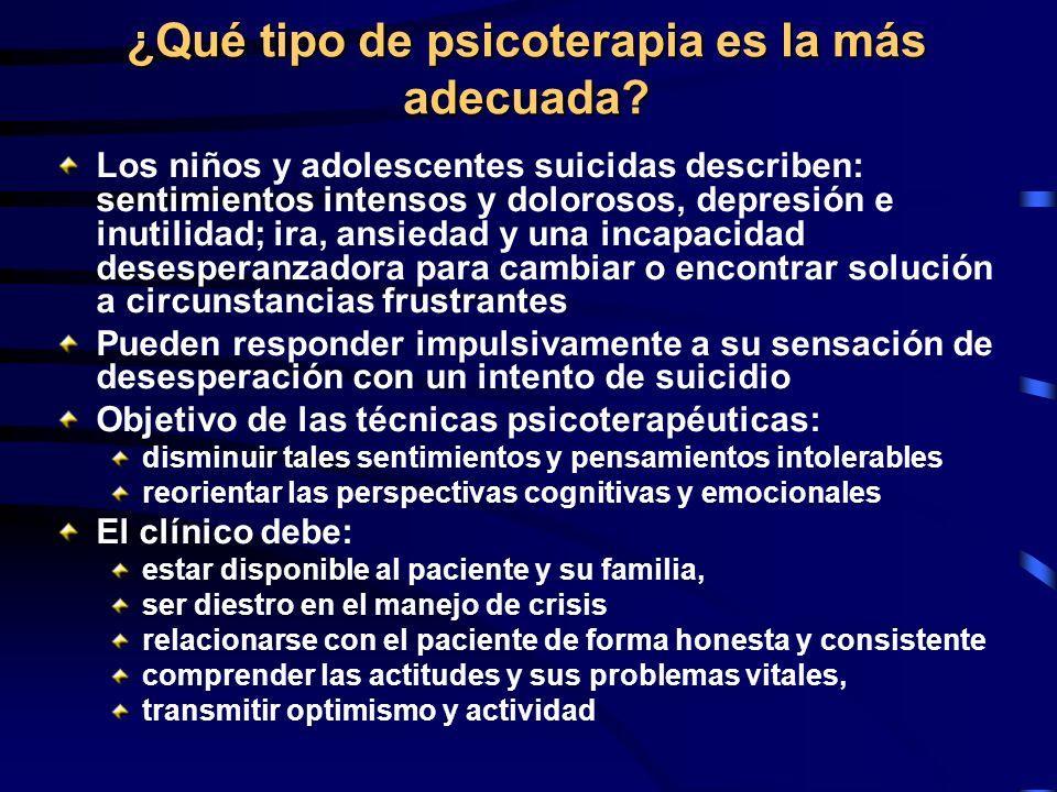 ¿Qué tipo de psicoterapia es la más adecuada? Los niños y adolescentes suicidas describen: sentimientos intensos y dolorosos, depresión e inutilidad;