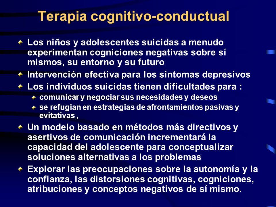 Terapia cognitivo-conductual Los niños y adolescentes suicidas a menudo experimentan cogniciones negativas sobre sí mismos, su entorno y su futuro Int