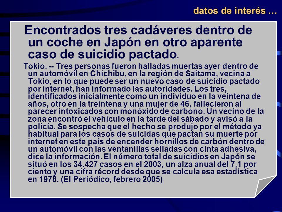 Encontrados tres cadáveres dentro de un coche en Japón en otro aparente caso de suicidio pactado. Tokio. -- Tres personas fueron halladas muertas ayer