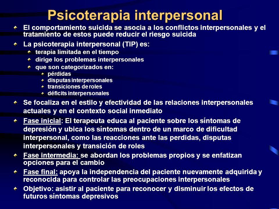 Psicoterapia interpersonal El comportamiento suicida se asocia a los conflictos interpersonales y el tratamiento de estos puede reducir el riesgo suic