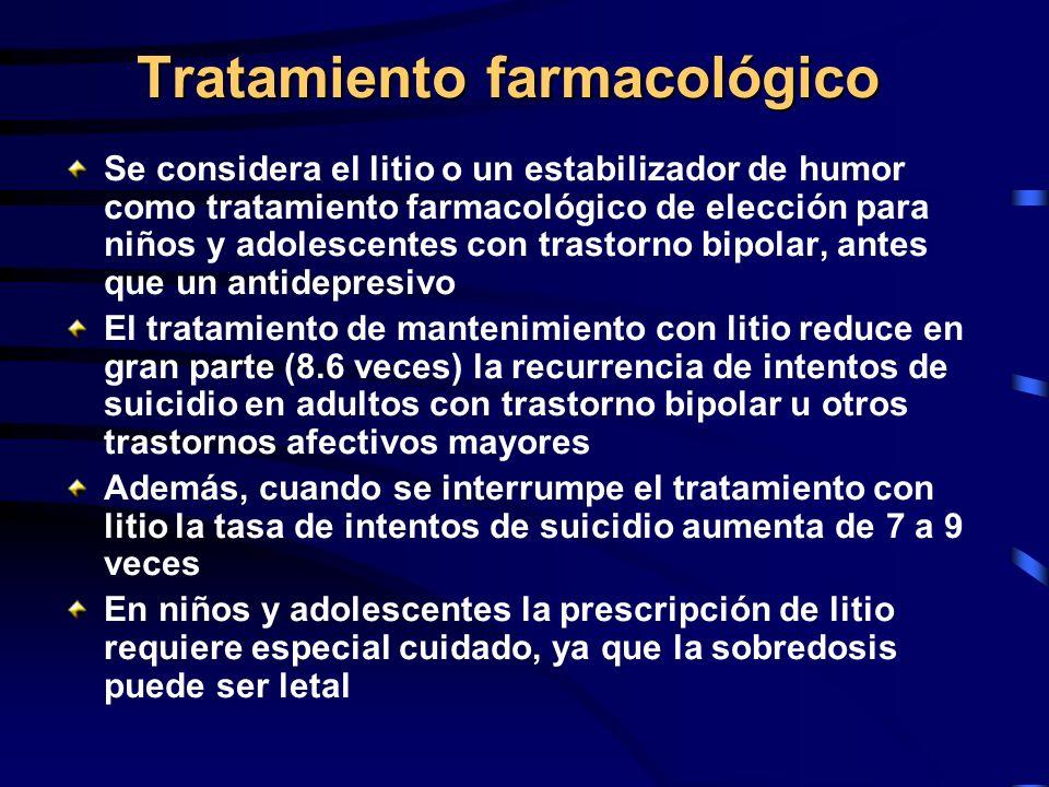 Tratamiento farmacológico Se considera el litio o un estabilizador de humor como tratamiento farmacológico de elección para niños y adolescentes con t