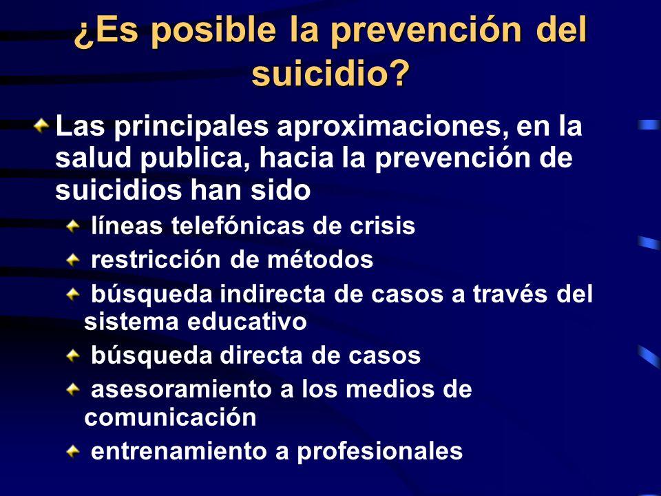 ¿Es posible la prevención del suicidio? Las principales aproximaciones, en la salud publica, hacia la prevención de suicidios han sido líneas telefóni