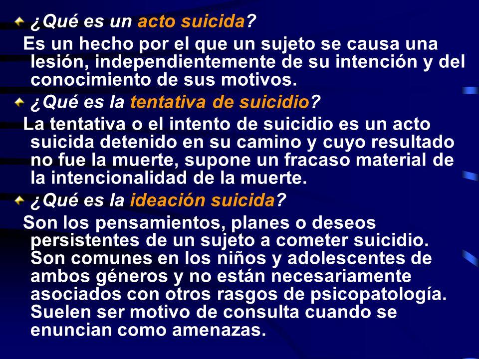 ¿Qué es un acto suicida? Es un hecho por el que un sujeto se causa una lesión, independientemente de su intención y del conocimiento de sus motivos. ¿