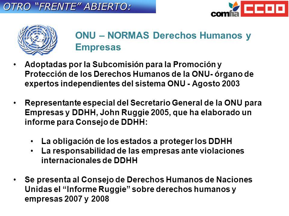 OTRO FRENTE ABIERTO: Adoptadas por la Subcomisión para la Promoción y Protección de los Derechos Humanos de la ONU- órgano de expertos independientes del sistema ONU - Agosto 2003 Representante especial del Secretario General de la ONU para Empresas y DDHH, John Ruggie 2005, que ha elaborado un informe para Consejo de DDHH: La obligación de los estados a proteger los DDHH La responsabilidad de las empresas ante violaciones internacionales de DDHH Se presenta al Consejo de Derechos Humanos de Naciones Unidas el Informe Ruggie sobre derechos humanos y empresas 2007 y 2008 ONU – NORMAS Derechos Humanos y Empresas