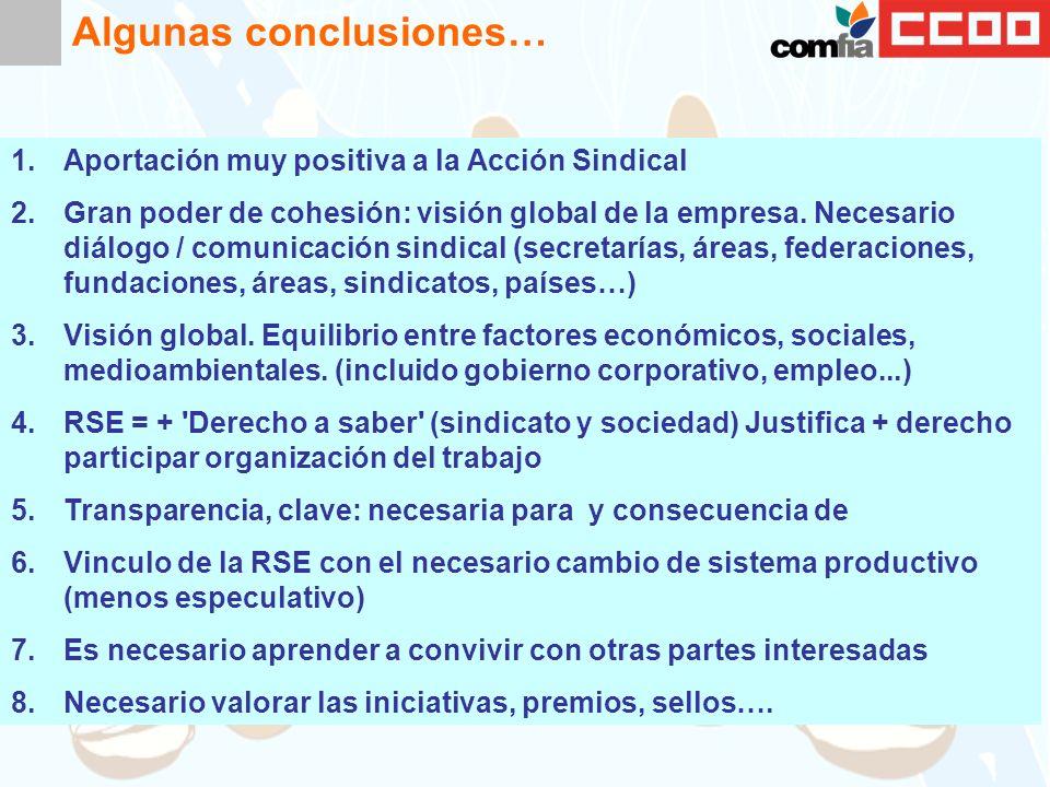 Algunas conclusiones… 1.Aportación muy positiva a la Acción Sindical 2.Gran poder de cohesión: visión global de la empresa.