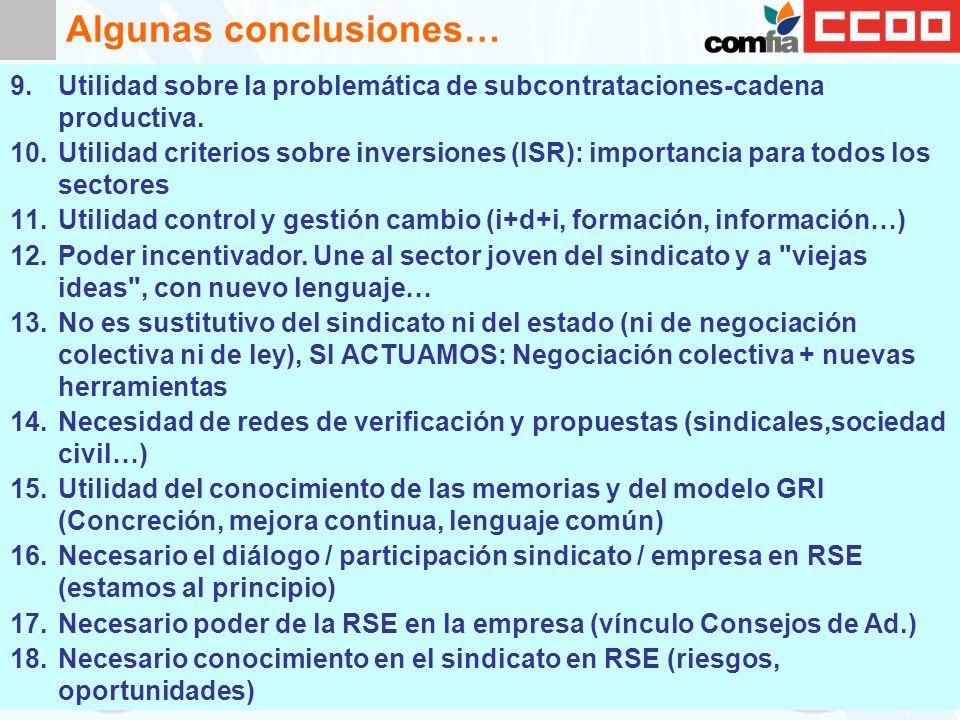Algunas conclusiones… 9.Utilidad sobre la problemática de subcontrataciones-cadena productiva.