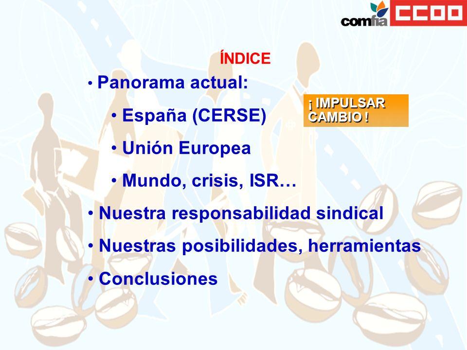 Panorama actual: España (CERSE) Unión Europea Mundo, crisis, ISR… Nuestra responsabilidad sindical Nuestras posibilidades, herramientas Conclusiones ÍNDICE ¡ IMPULSAR CAMBIO !
